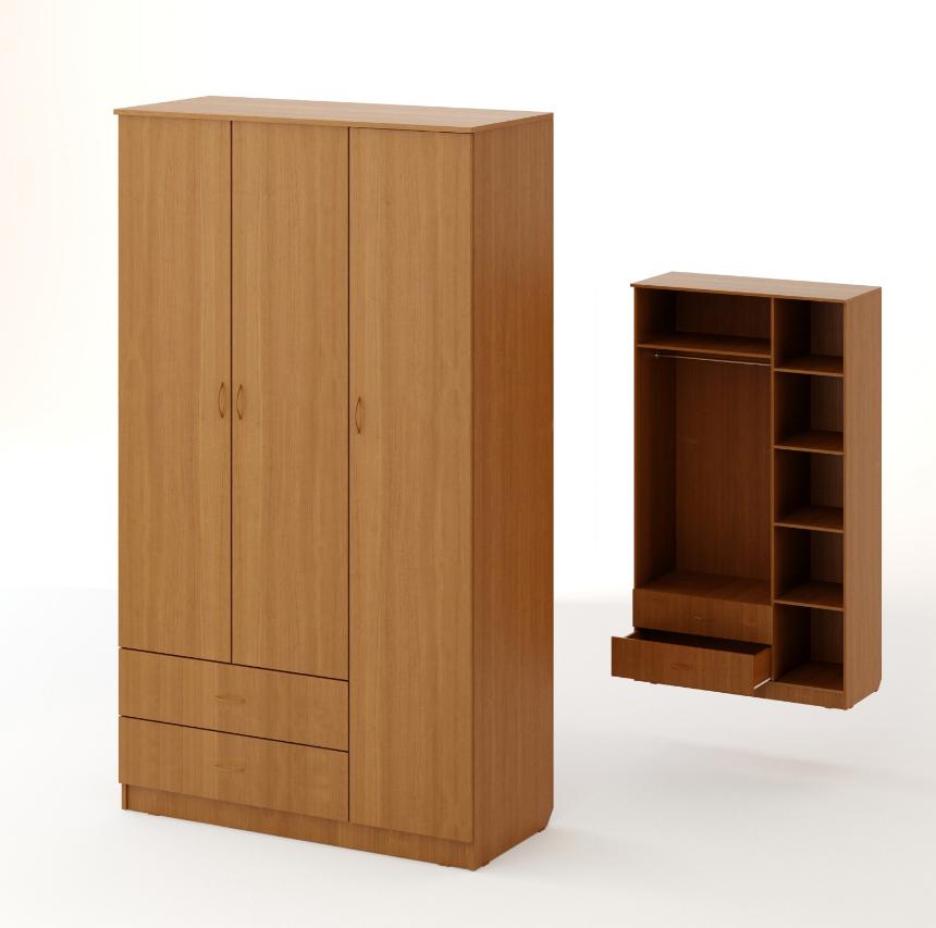 Шкаф распашной трехстворчатый с 2 ящиками бук темный