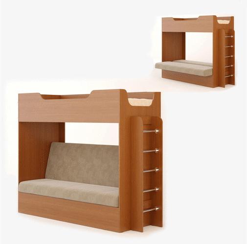 Кровать двухъярусная с диваном бук темный