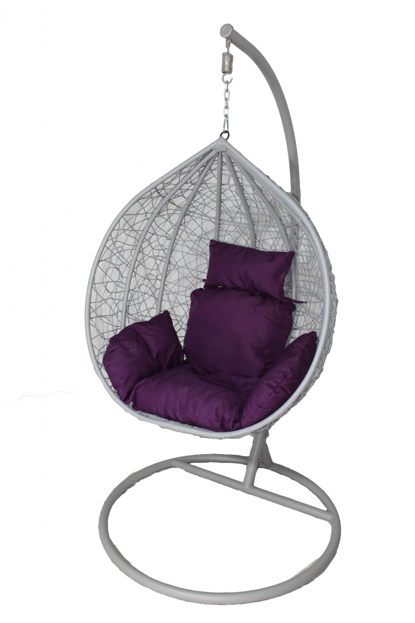 """Кресло подвесное кокон малый """"F-03"""" Каркас белый/ подушка фиолетовая"""
