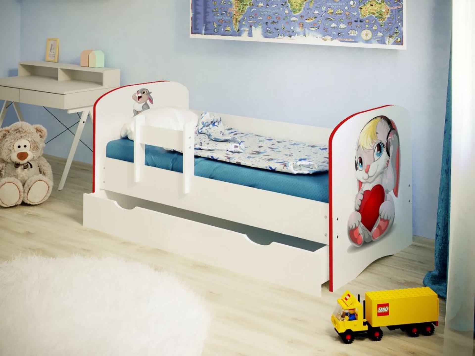 """Кровать детская """"Зайка"""" с бортиком (фотопечать)"""