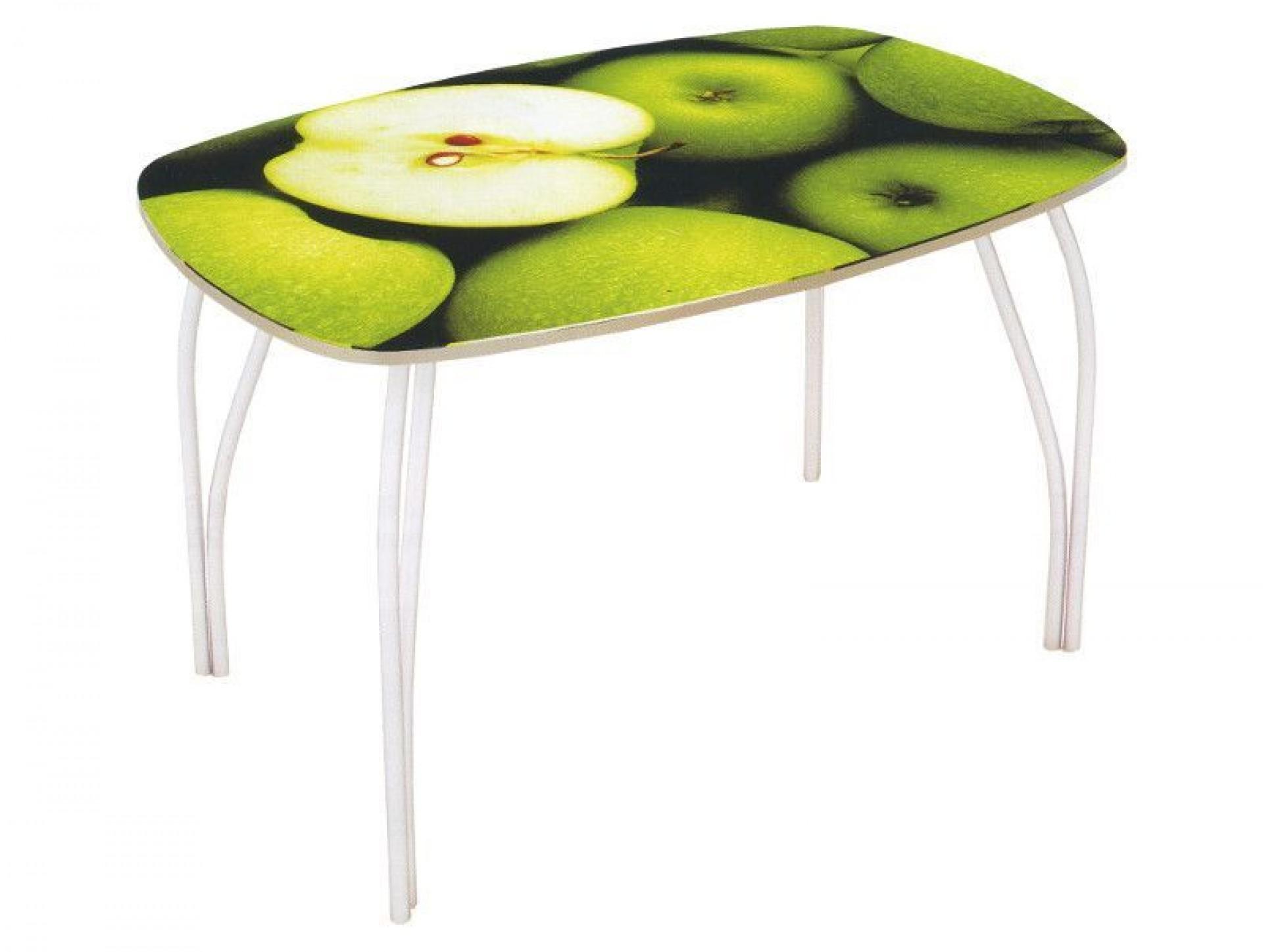 """Стол обеденный со стеклом """"Агат"""" яблоки"""
