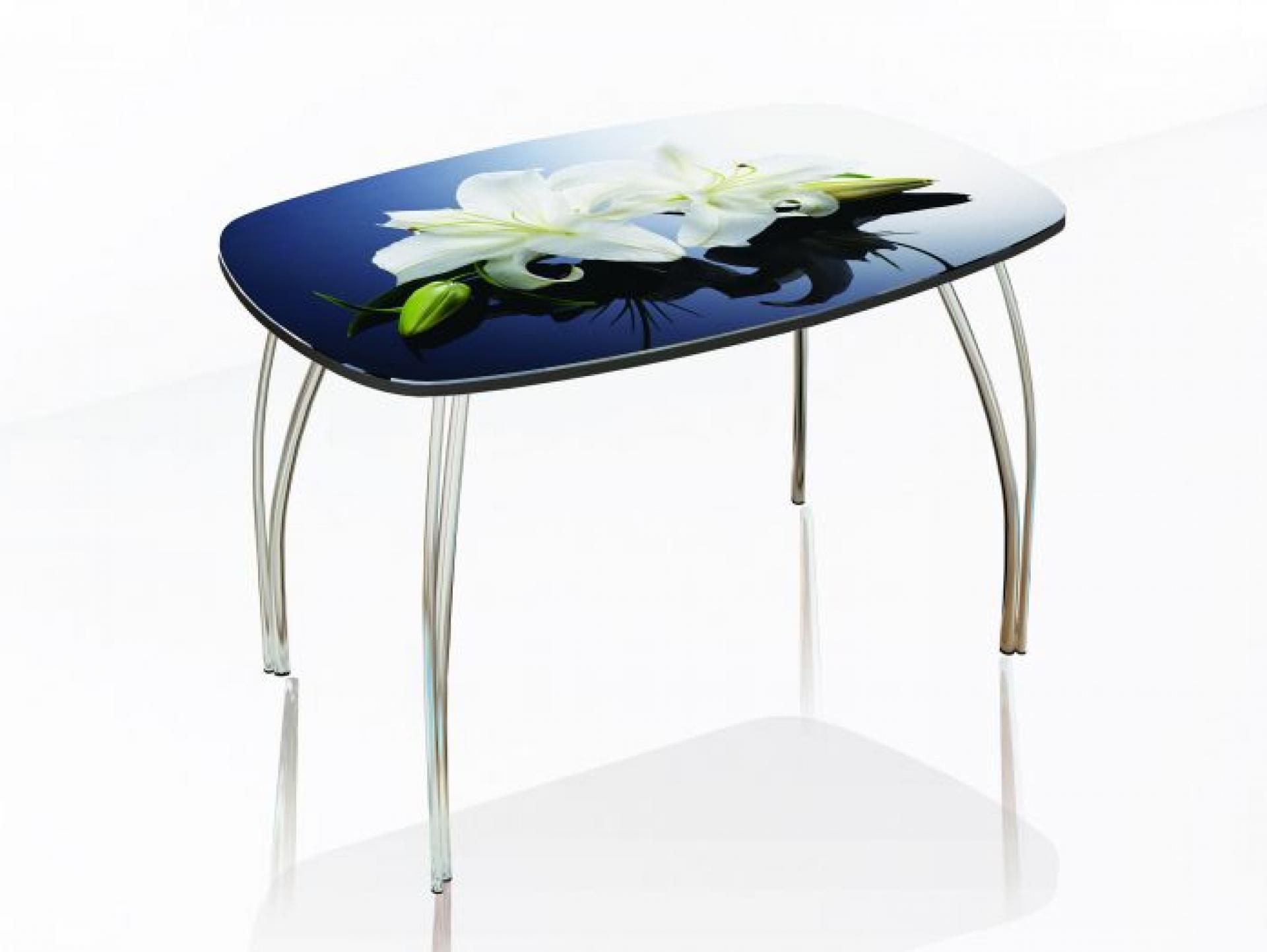 """Стол обеденный со стеклом """"Лотос"""" 1200*800"""