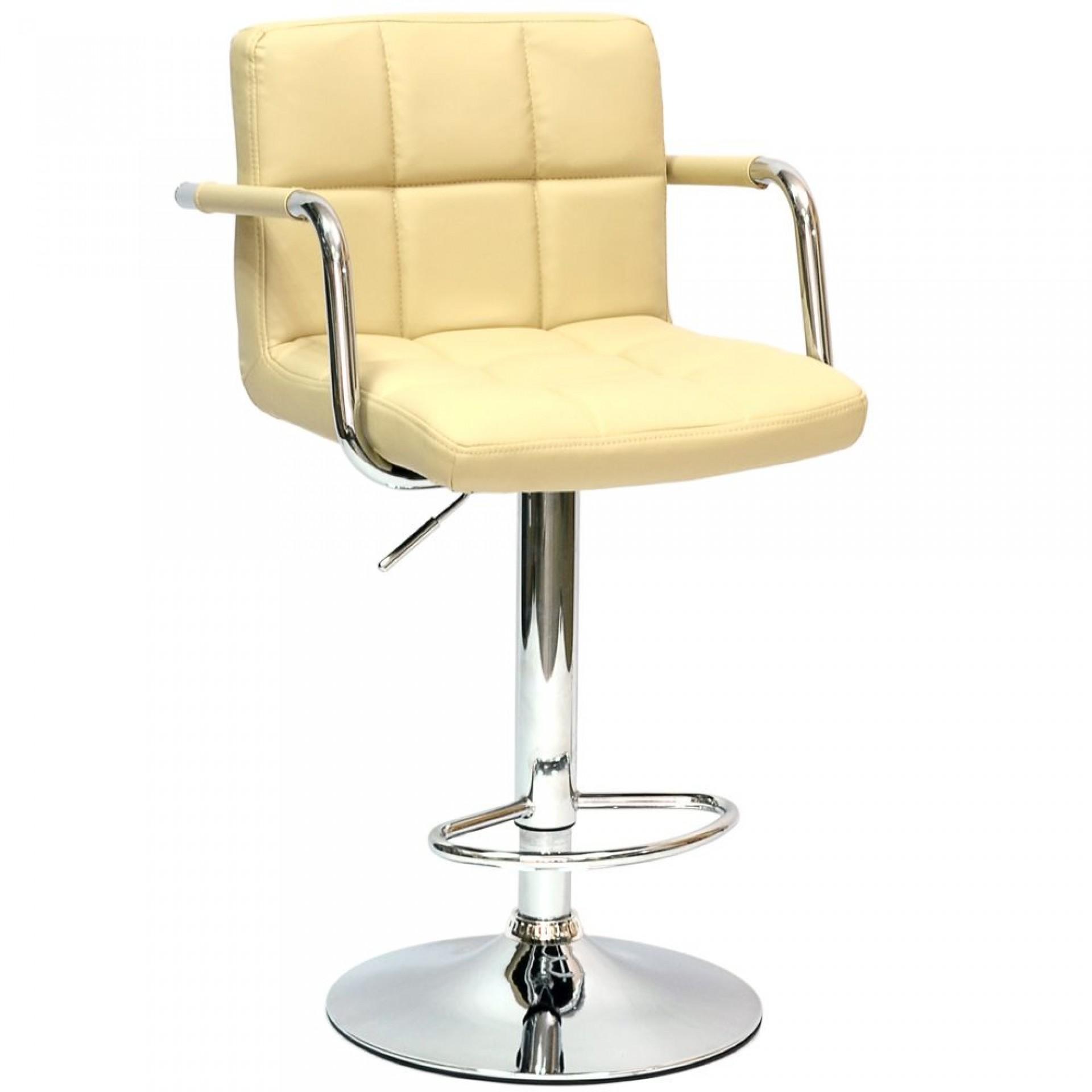 """Барный стул """"N-69 Kruger Arm"""" кремовая кожа ( бежевая)"""