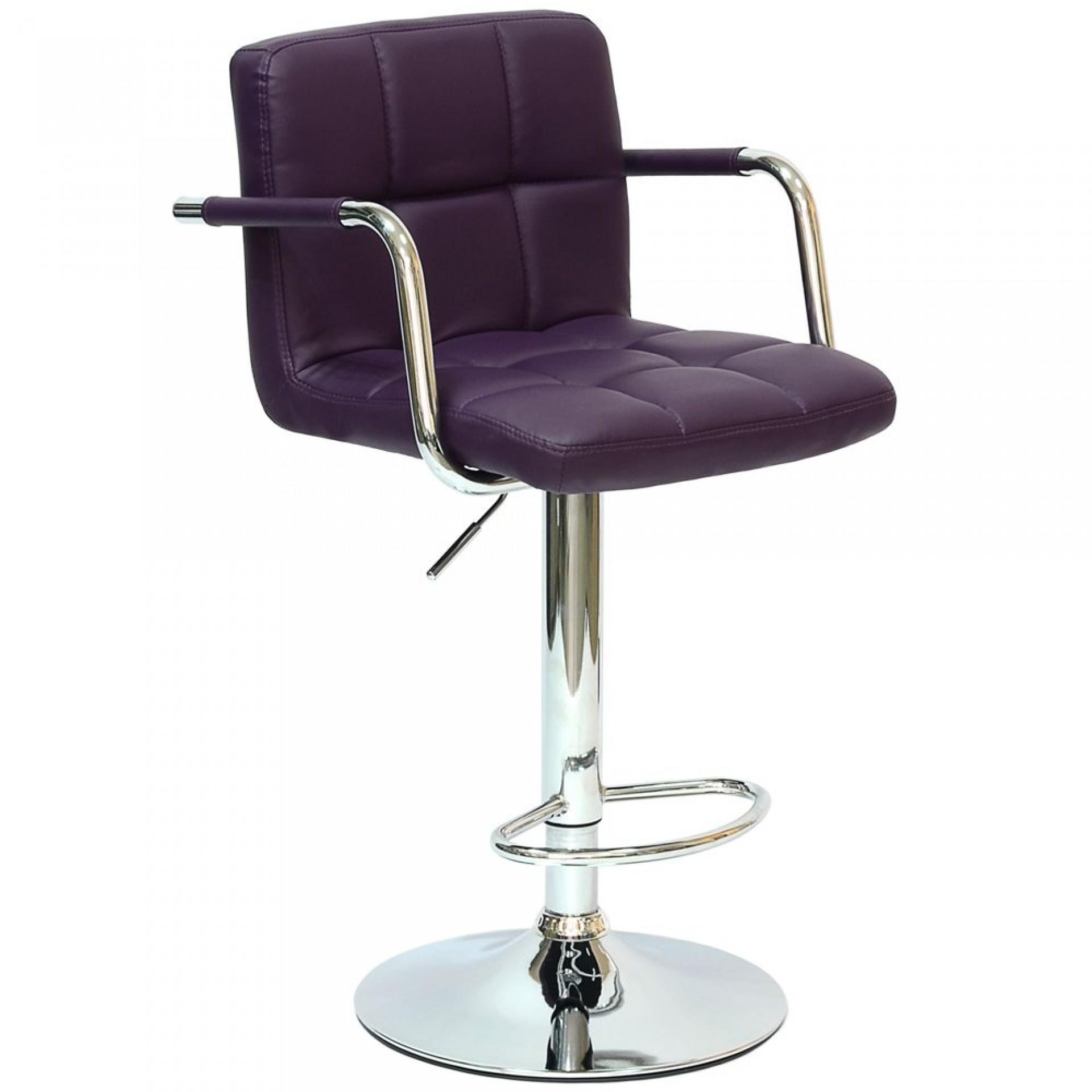 """Барный стул """"N-69 Kruger Arm"""" фиолетовая кожа"""