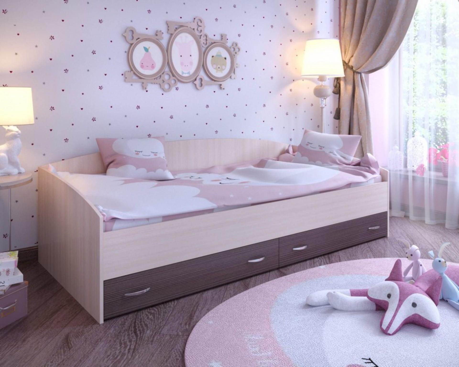 """Кровать с выкатными ящиками """"Ярофф"""""""