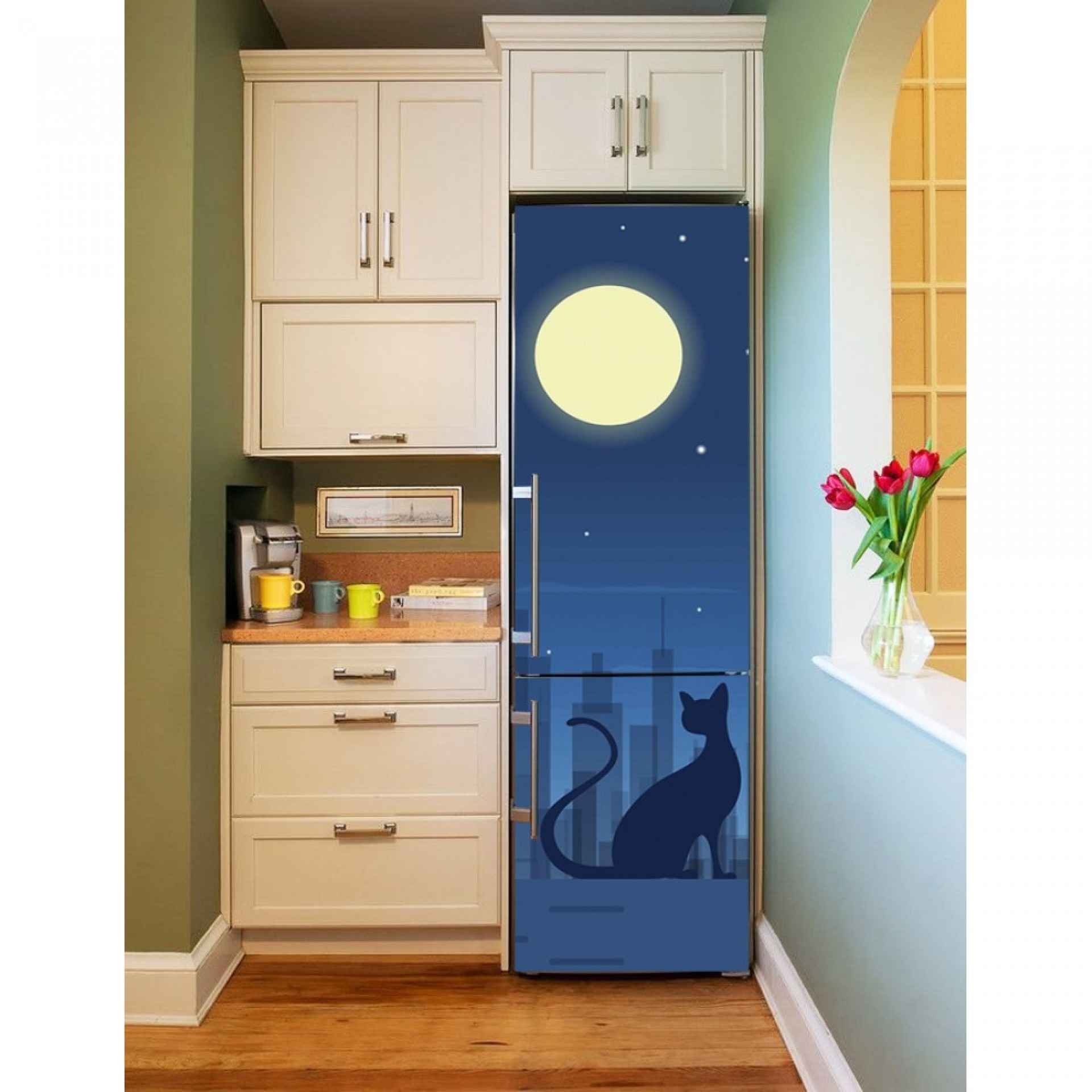 """Магнитное полотно на холодильник """"Кошка""""  МП460"""