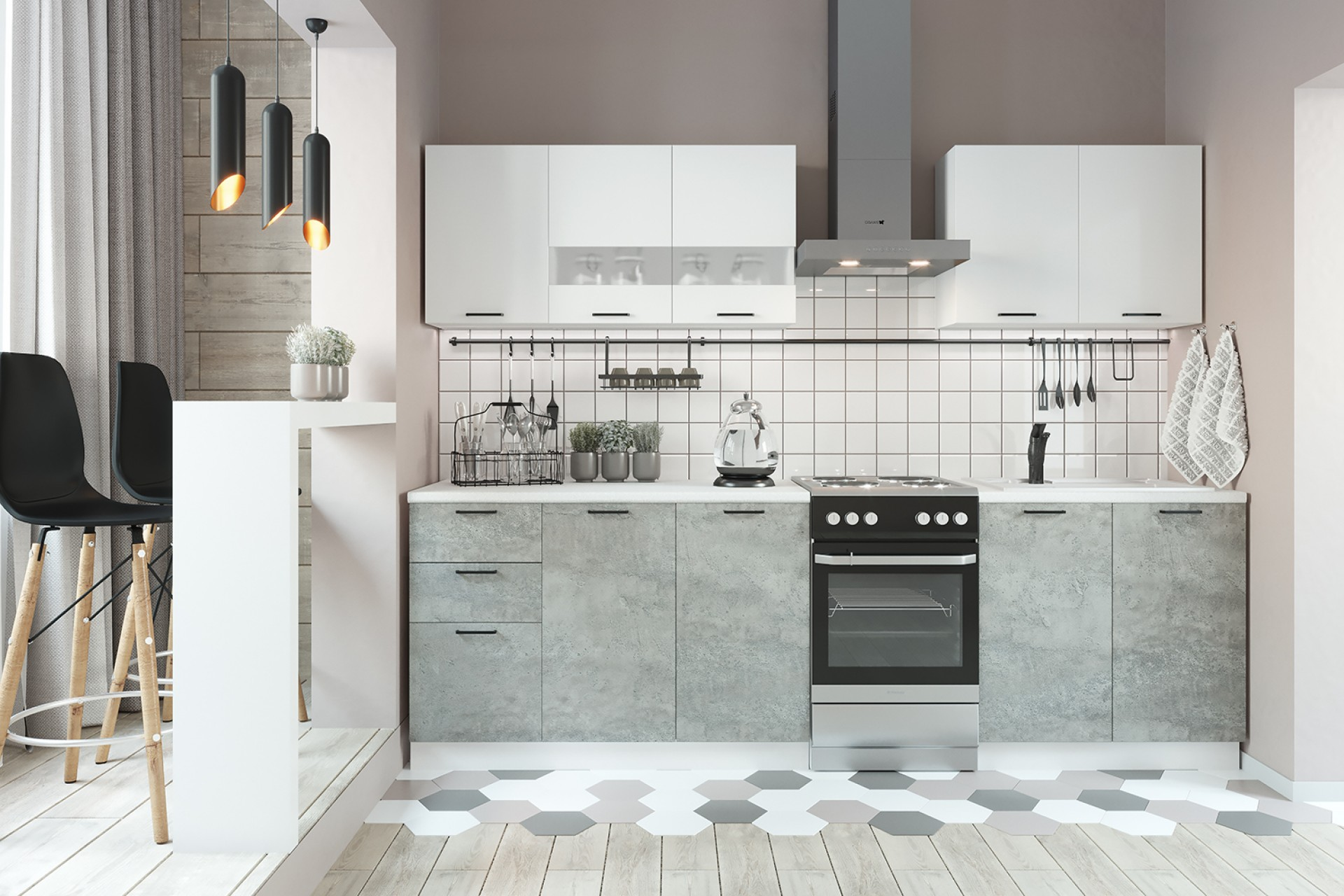 "Кухонный гарнитур ""Дуся"" 2,0 белый глянец/цемент"