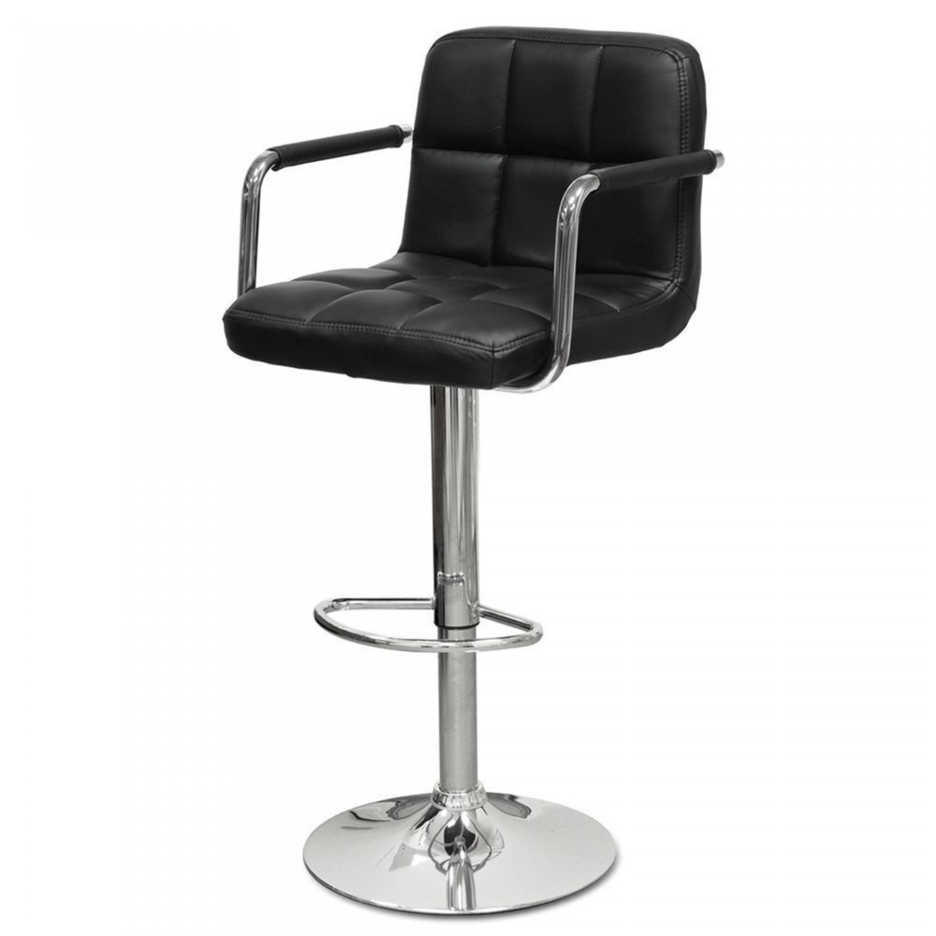 """Барный стул """"N-69 Kruger Arm"""" черная кожа"""