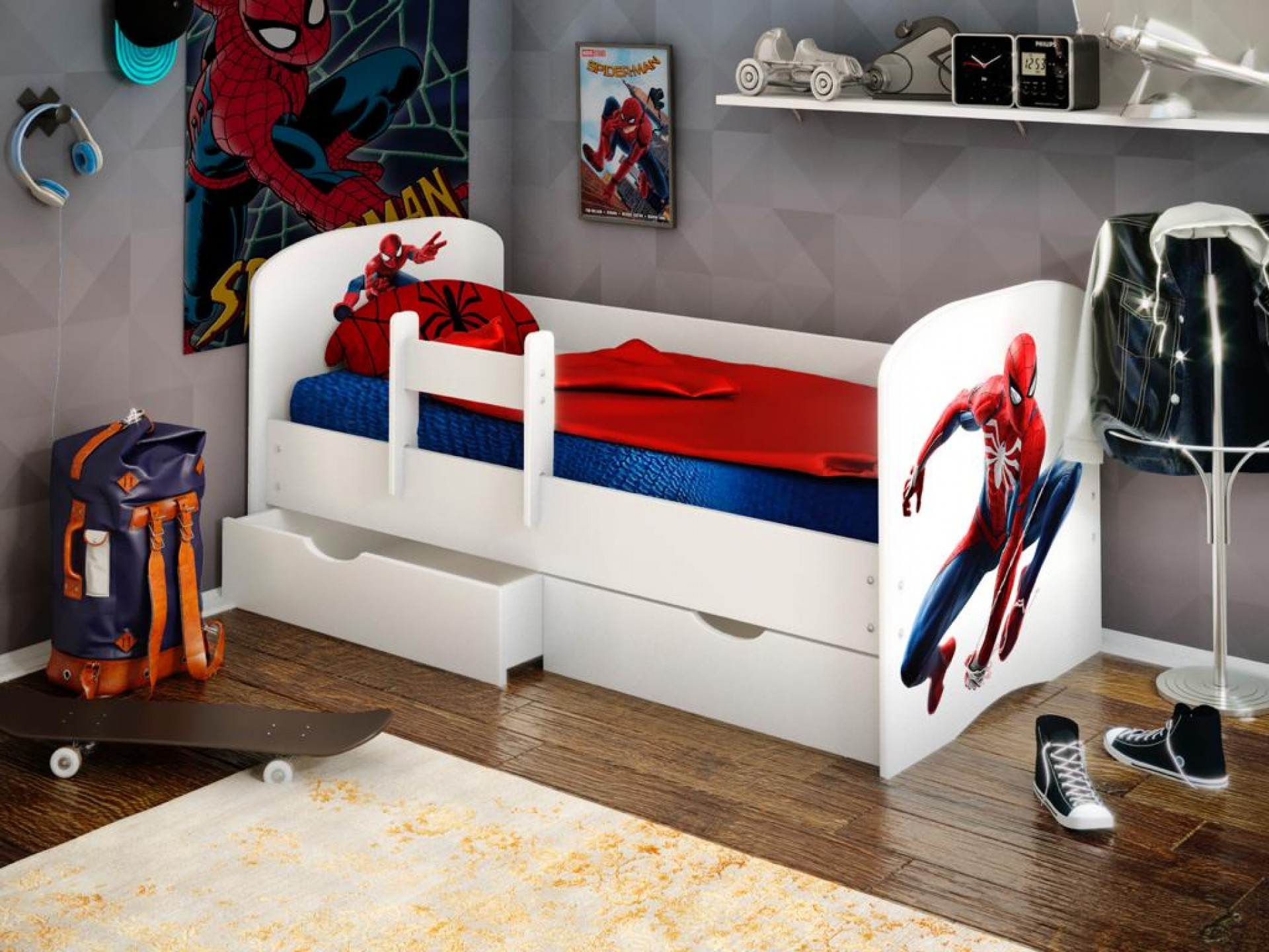 """Кровать детская """"Человек паук 1"""" с бортиком (фотопечать)"""