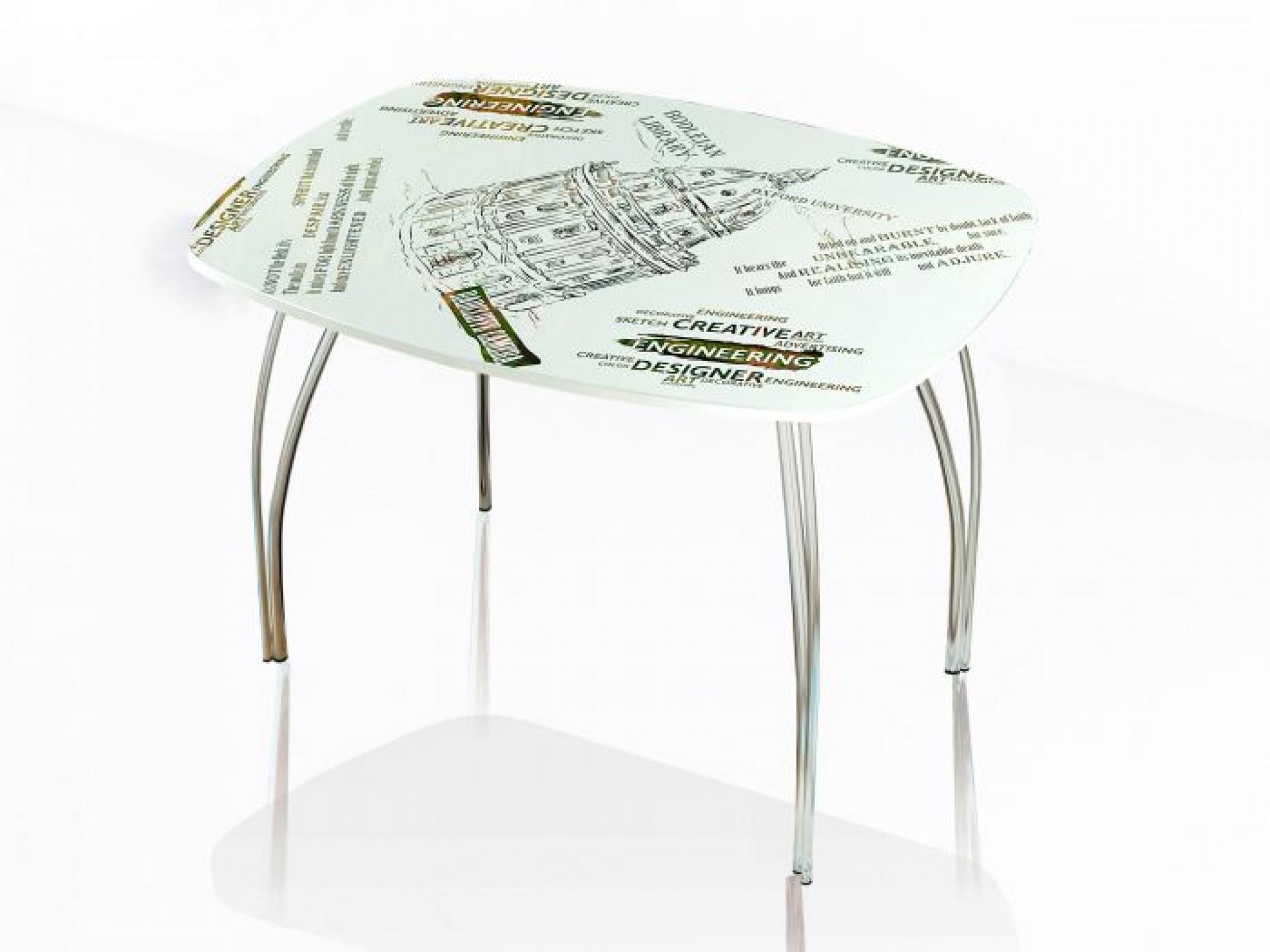 """Стол обеденный со стеклом """"Лотос"""" 1000*600"""