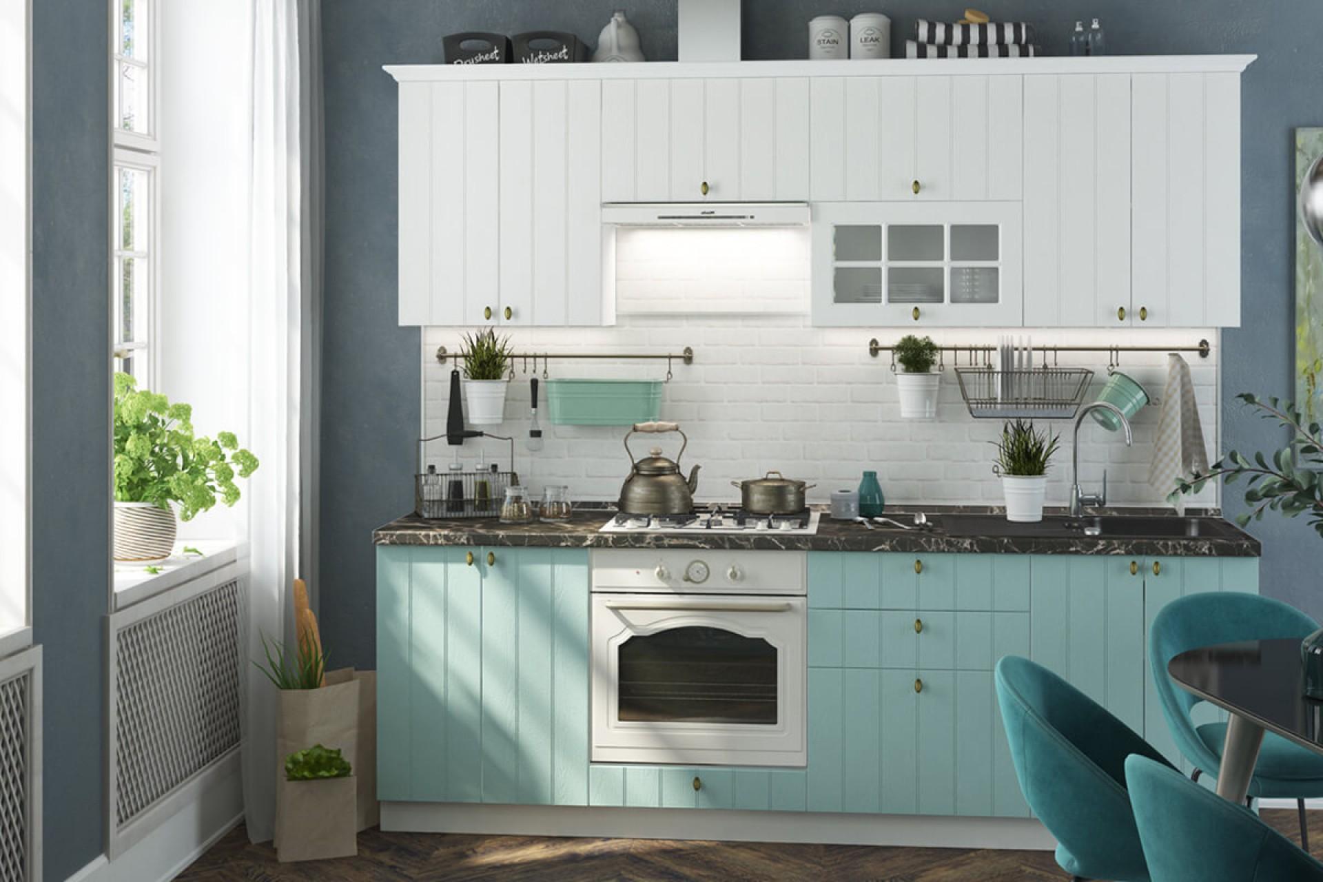 """Модульная кухня """"Прованс"""" белое дерево/голубой"""