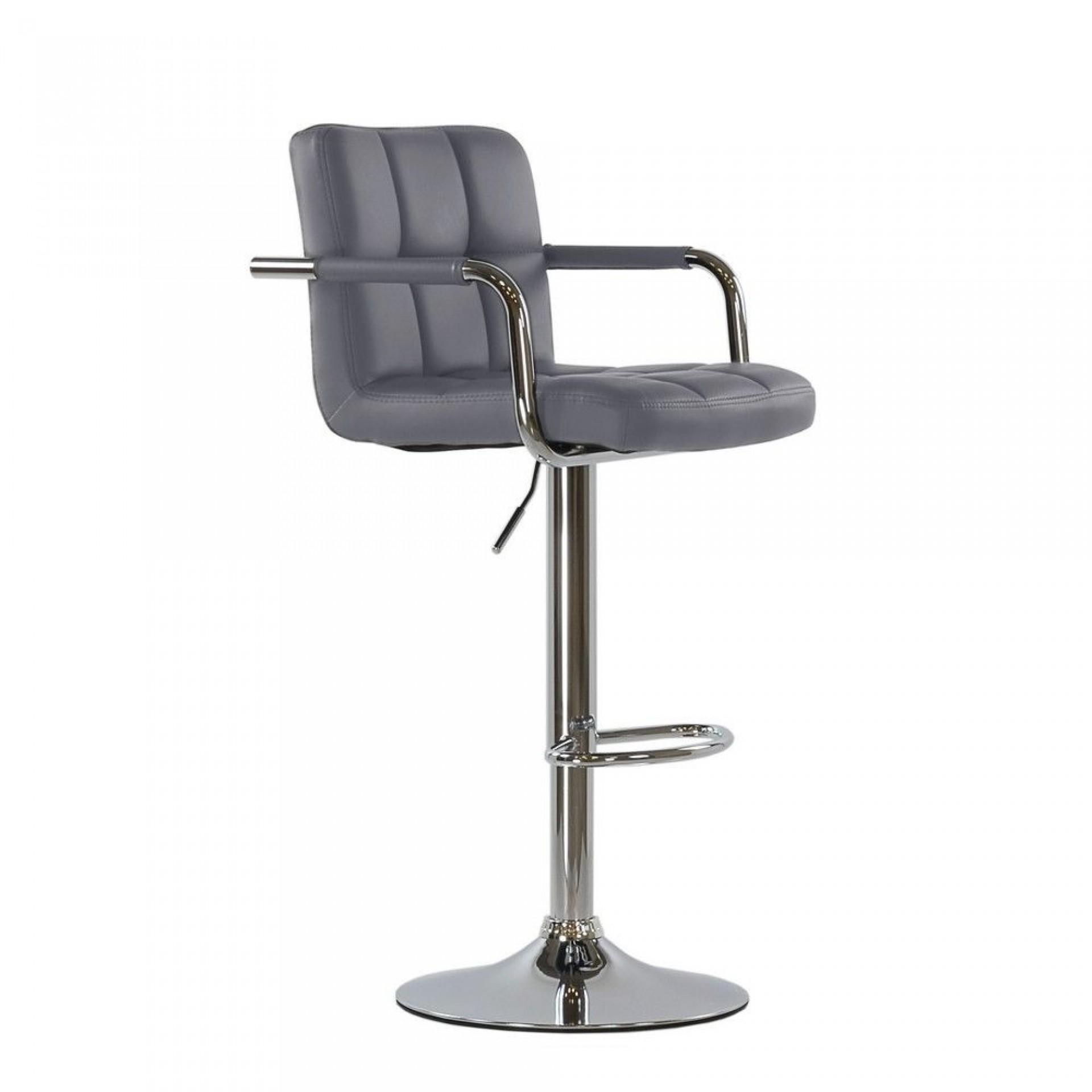"""Барный стул """"N-69 Kruger Arm"""" серая кожа"""