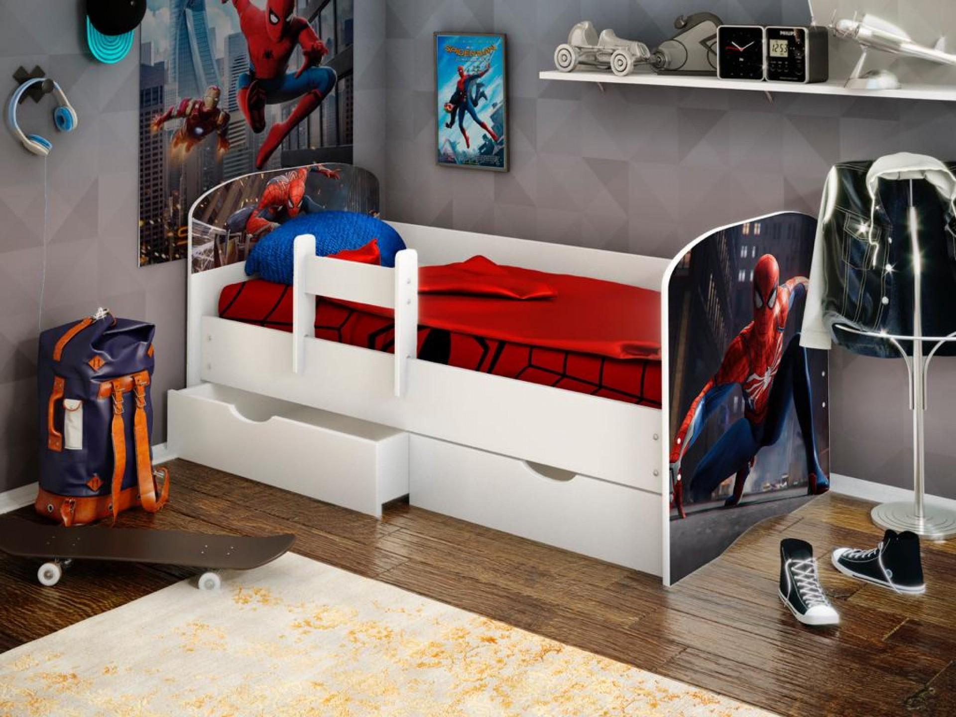 """Кровать детская """"Человек паук 2"""" с бортиком (фотопечать)"""