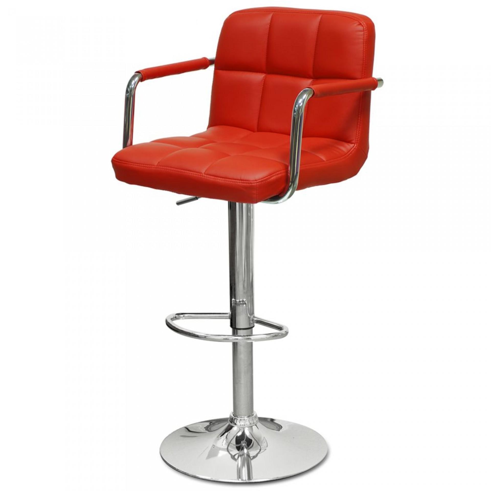 """Барный стул """"N-69 Kruger Arm"""" красная кожа"""