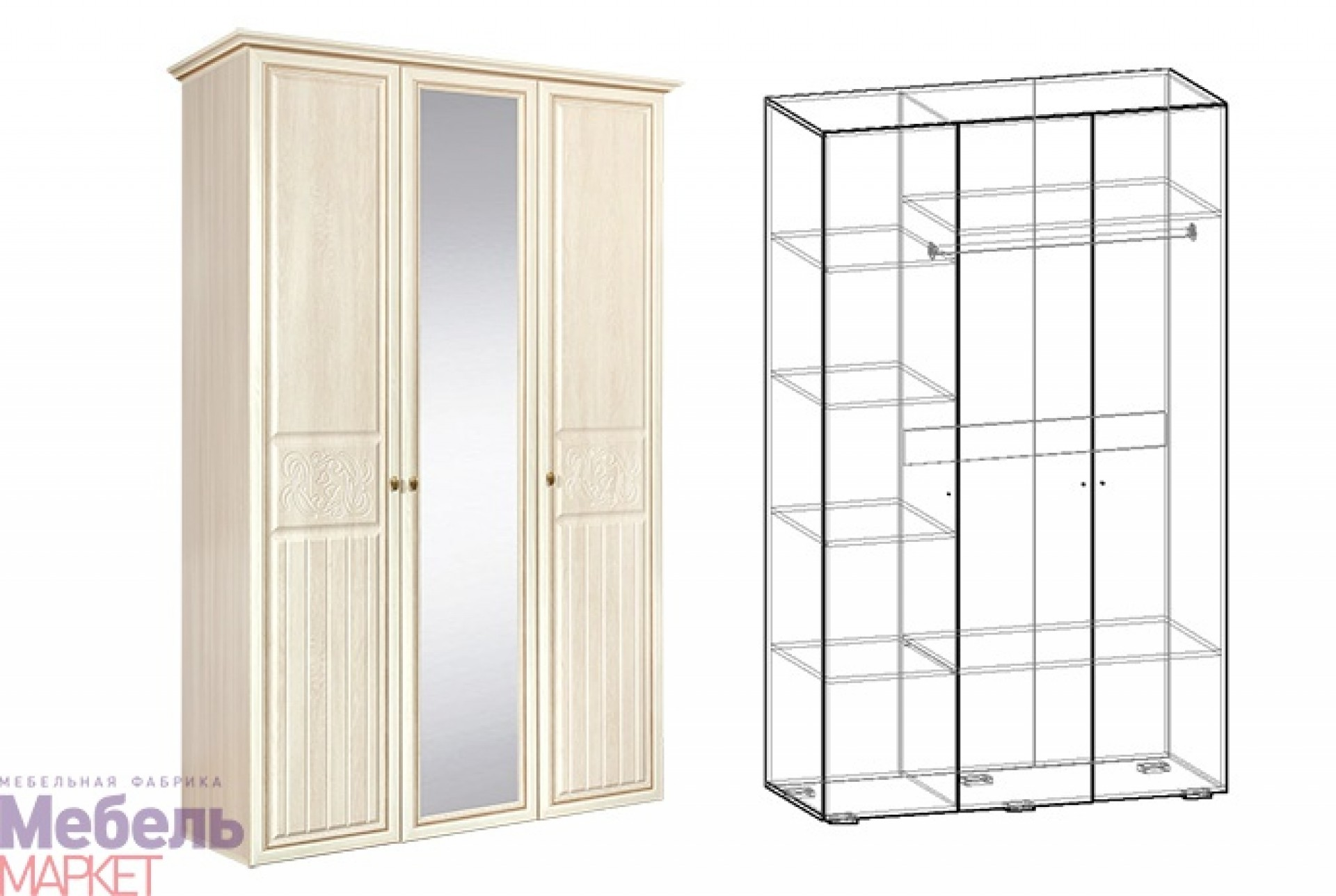 """Шкаф 3х створчатый Спальня """"Виктория"""""""