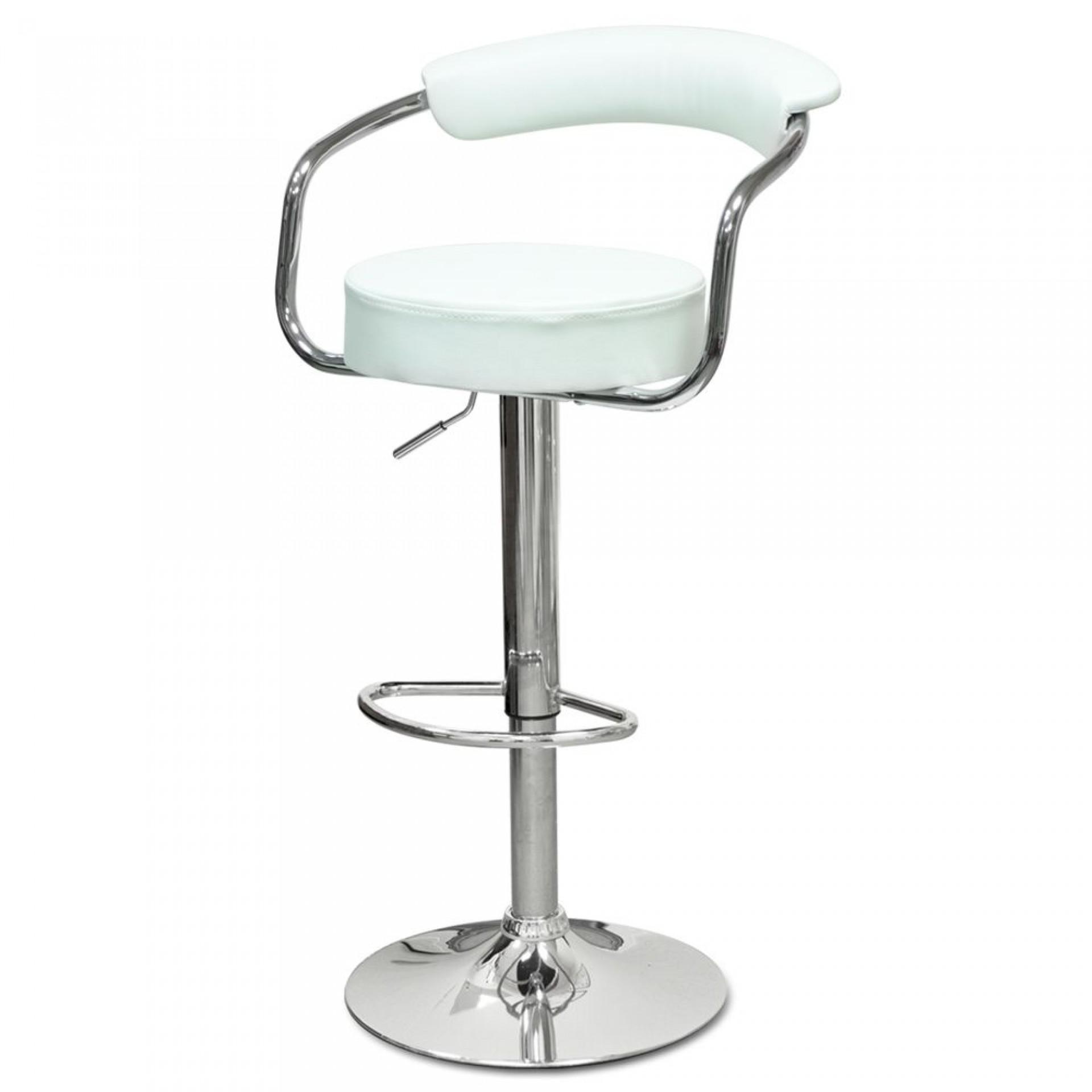"""Барный стул """"N-91 Orion"""" белая кожа"""