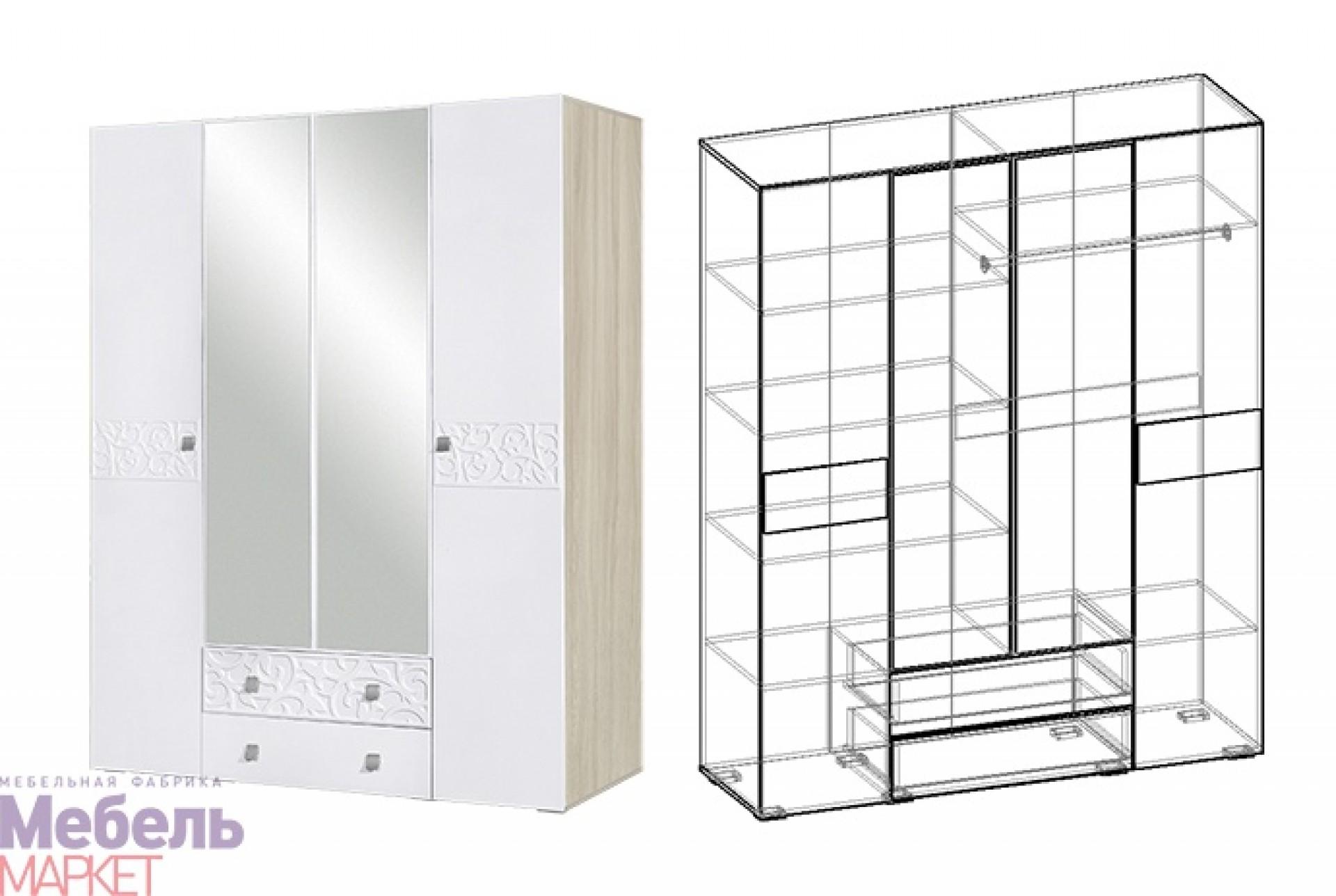 "Шкаф 4х створчатый Спальня ""Винтаж"""