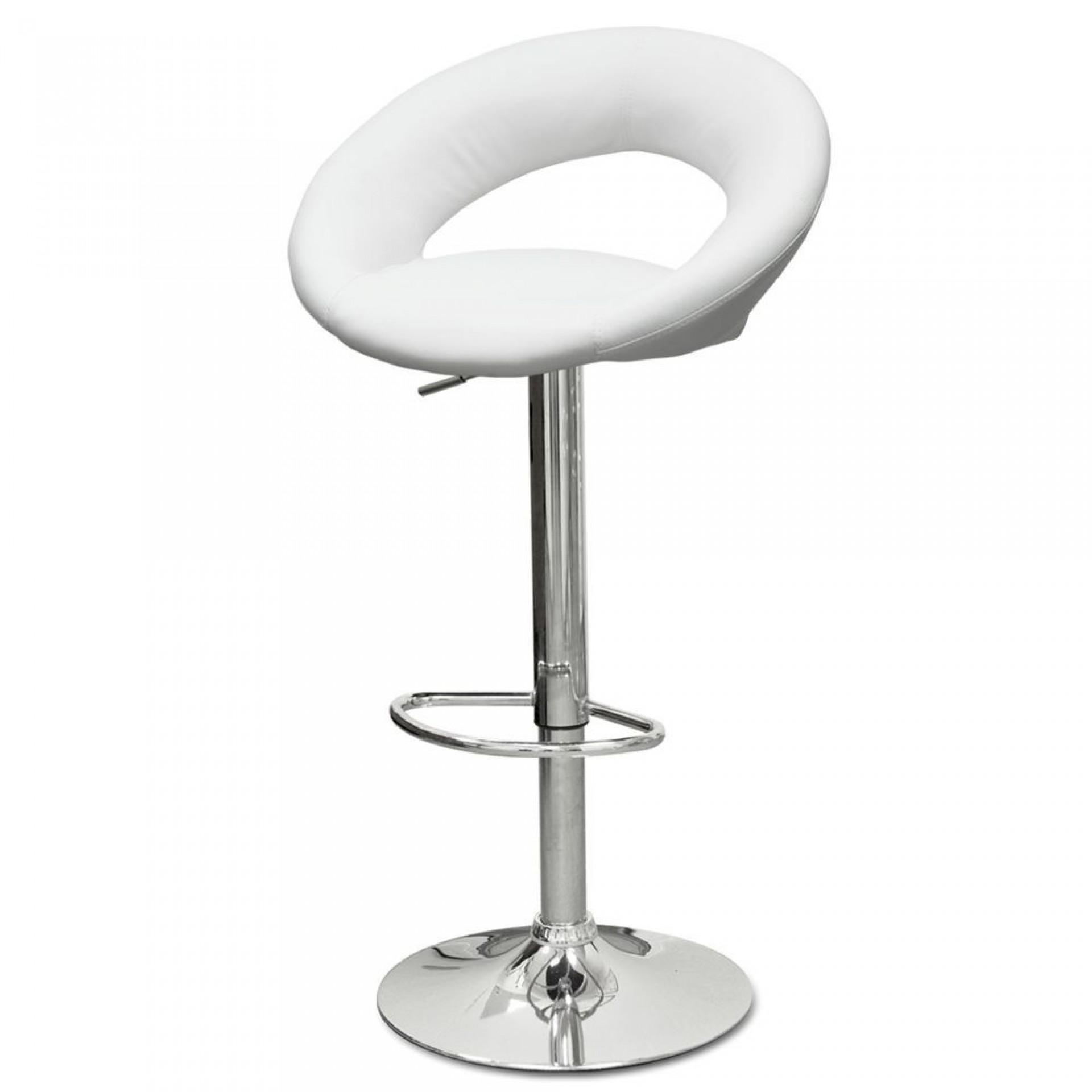 "Барный стул ""N-84 Mira"" белая кожа"