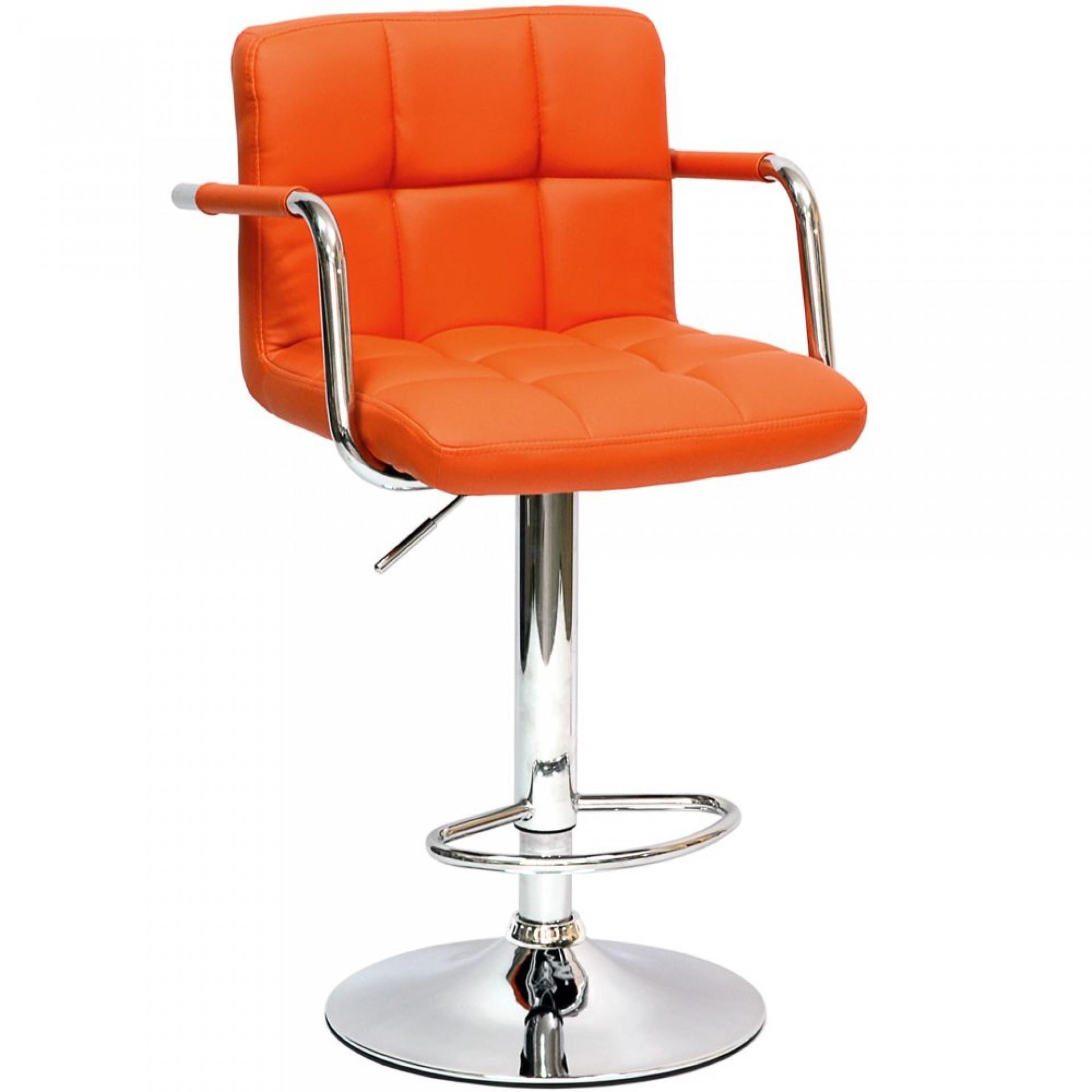 """Барный стул """"N-69 Kruger Arm"""" оранжевая кожа"""