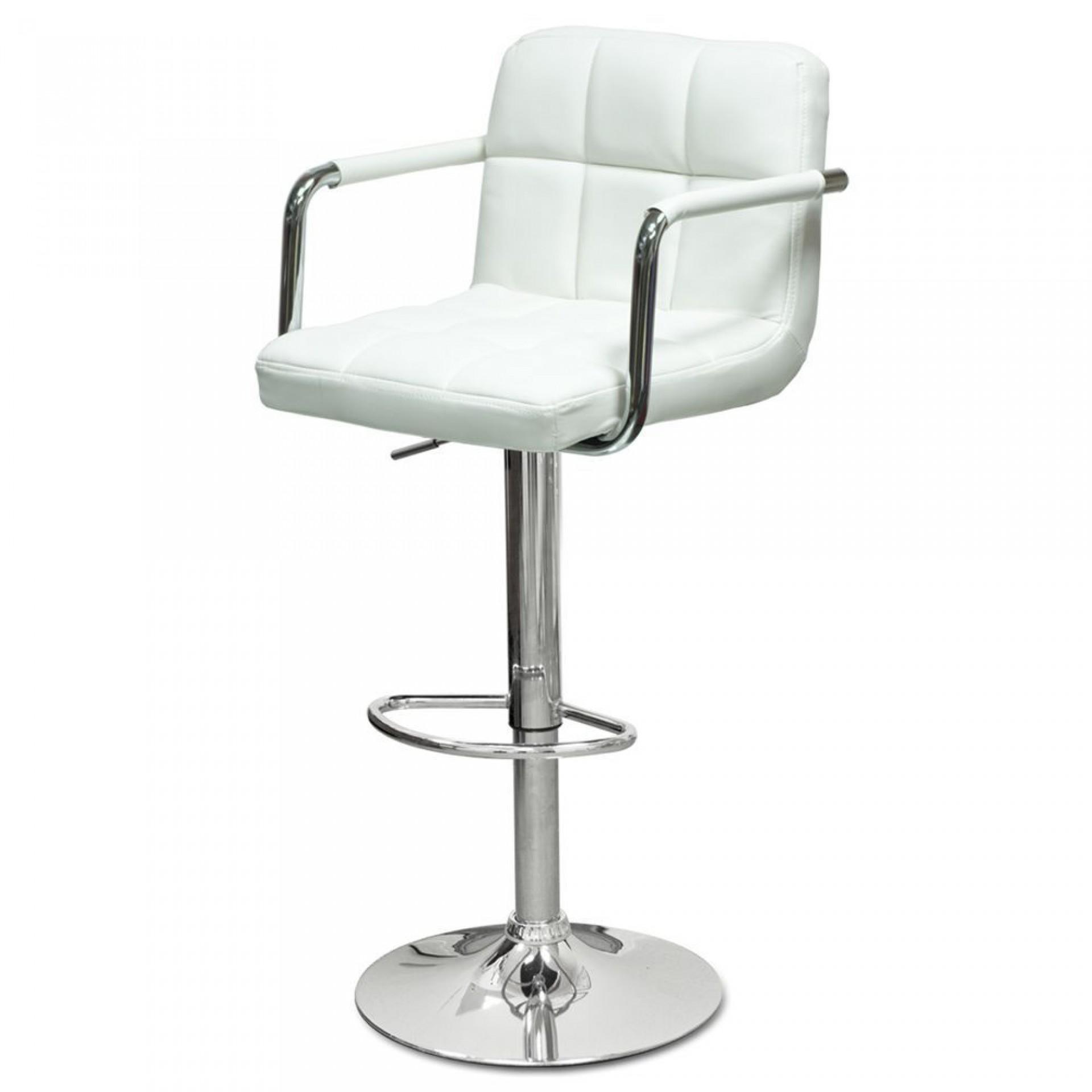 """Барный стул """"N-69 Kruger Arm"""" белая кожа"""