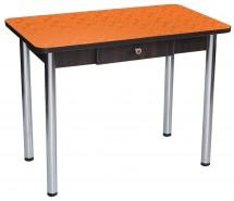 """Стол """"Дачный"""" с ящиком в цвете цветы оранжевые"""